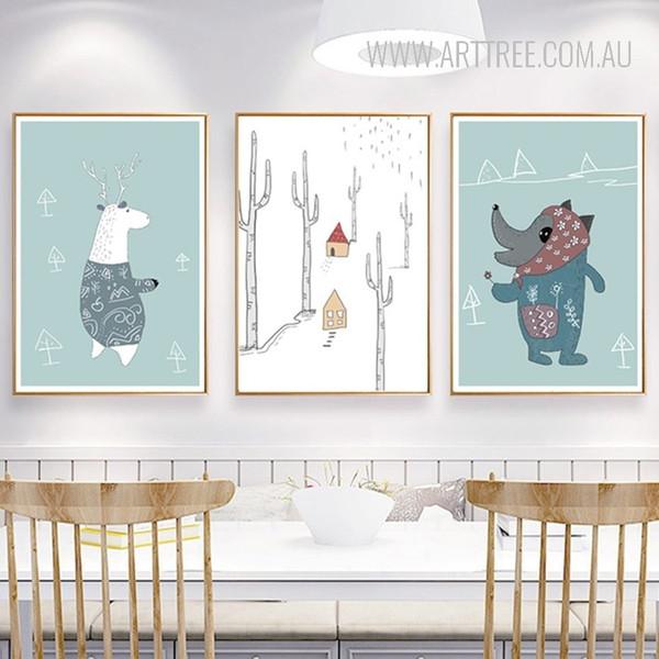 Cartoon Animals Sweet Nursery Wall Art Prints