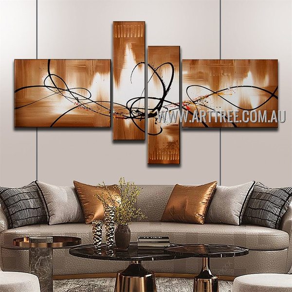 Black Lines Abstract Handmade 4 Piece Multi Panel Wall Painting Set For Room Garniture