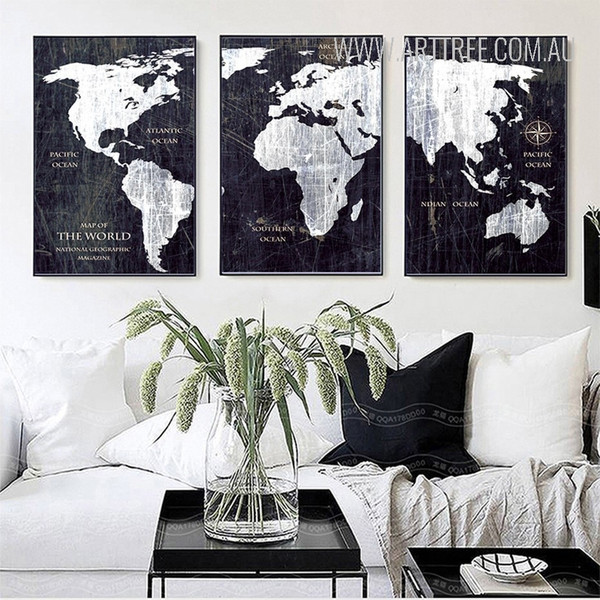 Black and White Map of the World Canvas Prints