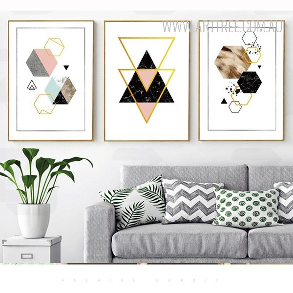 Geometric Pattern Triangles Hexagons Abstract Art