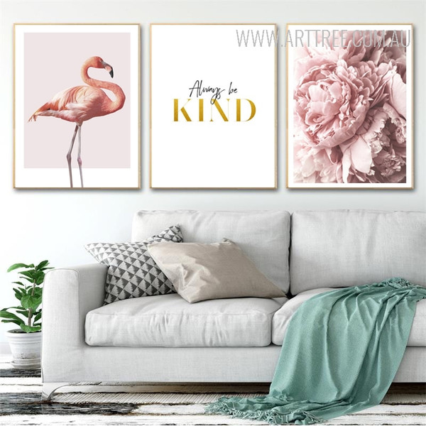 Modern Pink Flamingo Always Be Kind Peony Flowers Canvas Prints