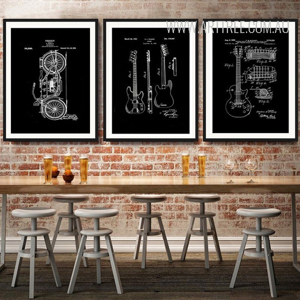 Black and White Drawings Bike Guitar Design Canvas Prints