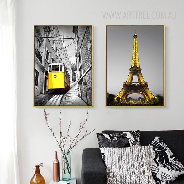 Yellow Tram Paris Eiffel Tower Vintage Poster Prints
