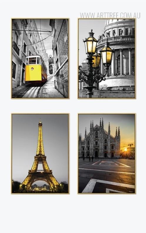 Yellow Tram Eiffel Tower Milan Cathedral Saint Issac Vintage Poster Prints