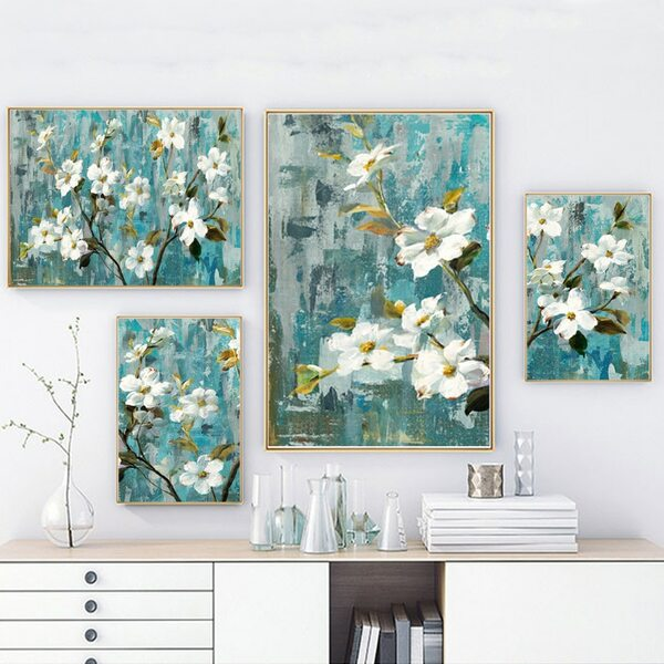 White Buttercup Floral Digital Painting Wall Art