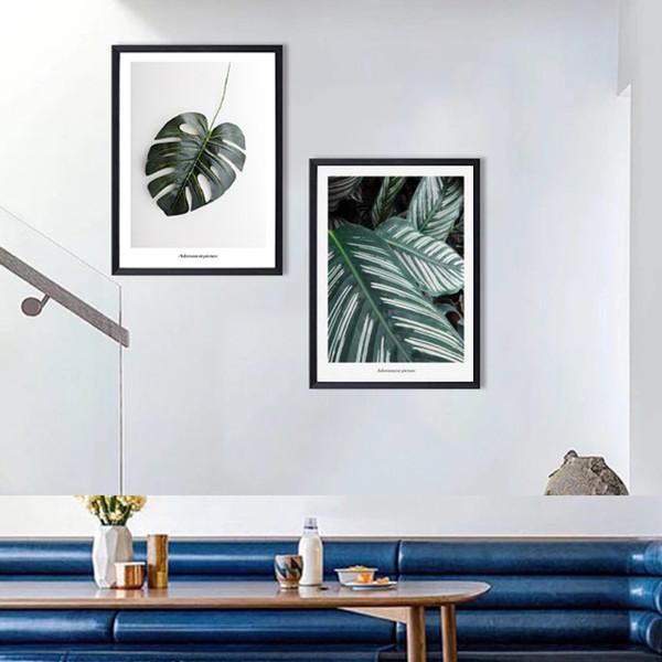 Tropical Green Monstera Leaf Art Set