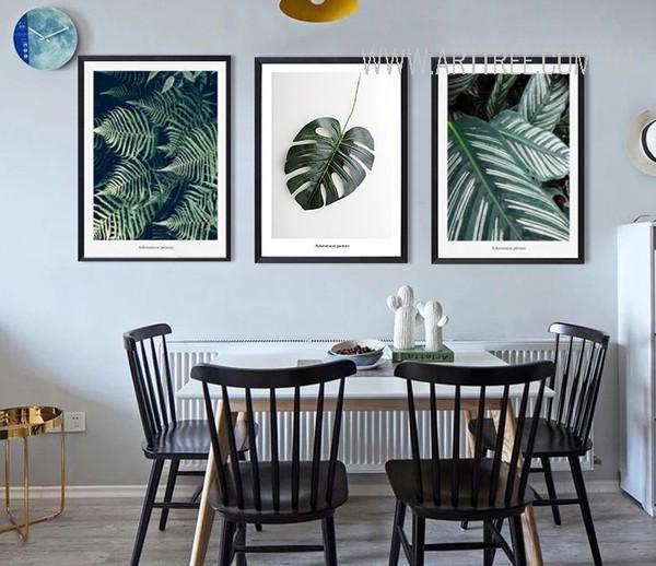 Green Tropical Plants 3 Piece Canvas Prints