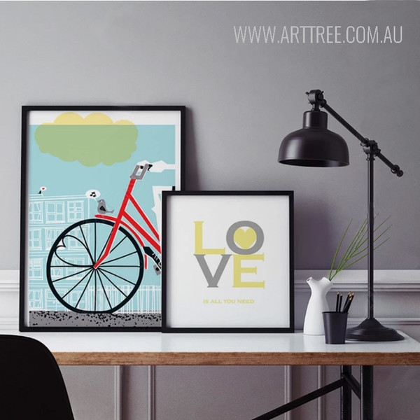 Love is All You Need Red Bicycle Poster Print