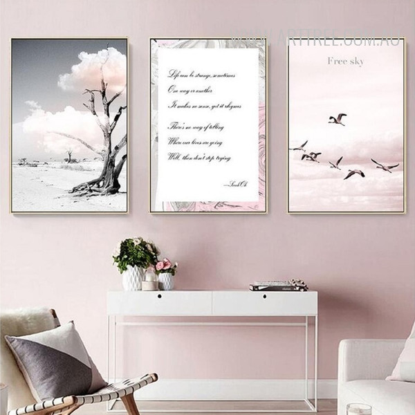Free Sky Flying Birds Tree in Desert Canvas Prints