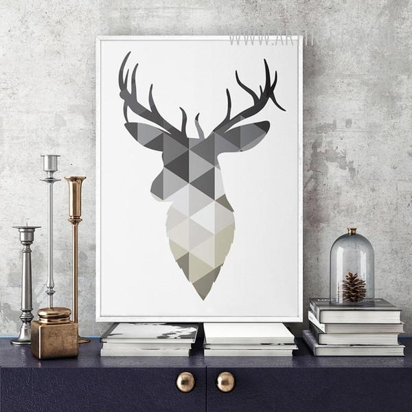 Grey Geometric Deer Scandinavian Print