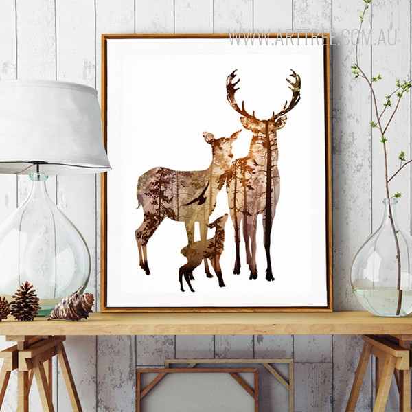Nordic Brown Deer Animals in Forest Digital Painting Scandinavian Art