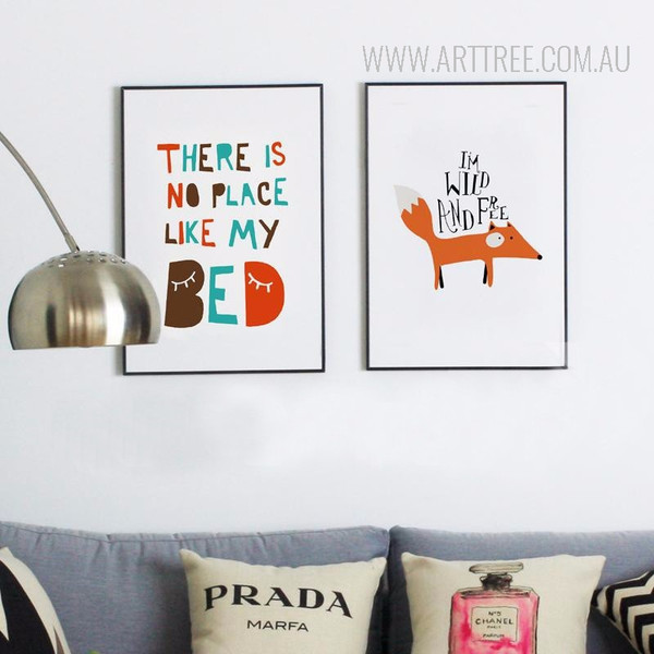 There is No Place Like Bed Fox Writing Nordic Nursery Wall Art