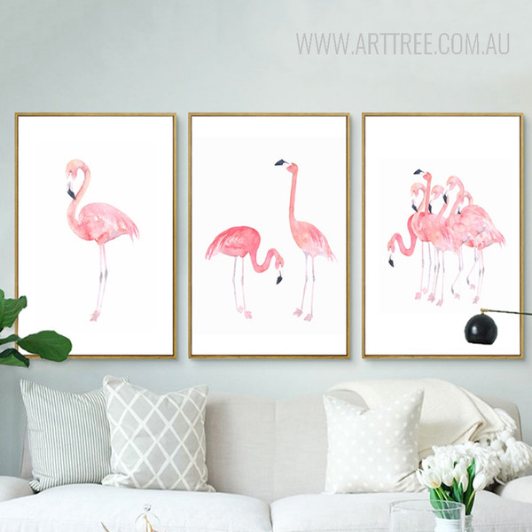 Modern Pink Flamingo Bird Set