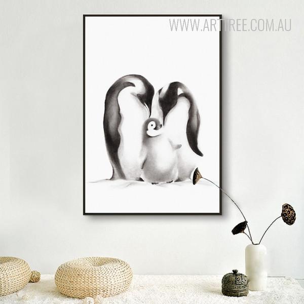 Black and White Penguin Family Digital Art