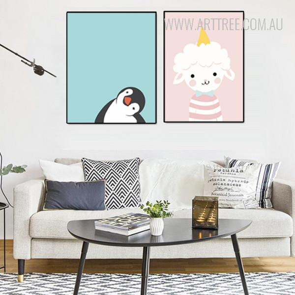 Cute Penguin Ice Cream Sheep Baby Design Nursery Wall Art