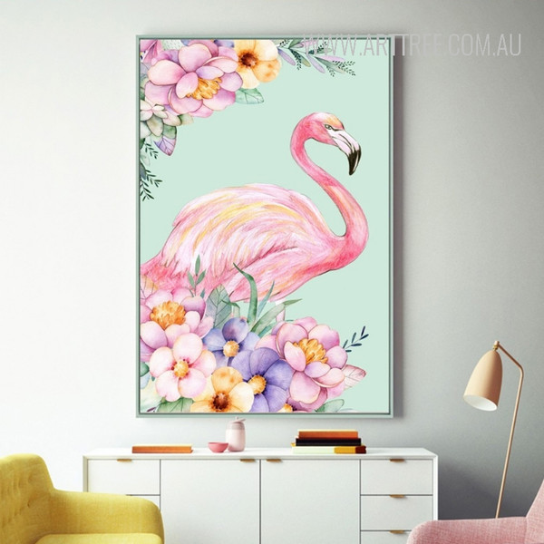 Lovely Pink Flamingo Bird Flowers Design Canvas Wall Art