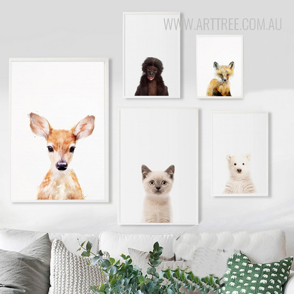 Cute Wild Baby Animals Fawn Cat Polar Bear Chimpanzee Fox Art