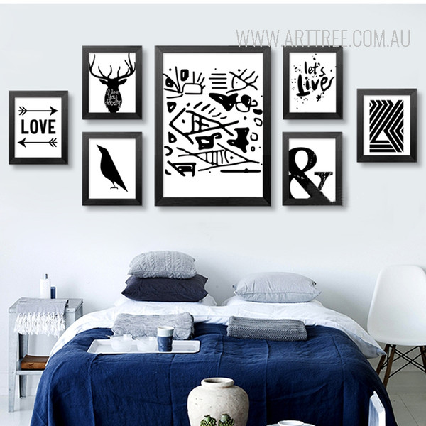 Black and White Ampercent Abstract Fish Tree Crow Deer Love Canvas Prints