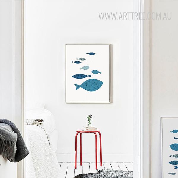 Minimalist Blue Fishes Shoal Nordic Canvas Print