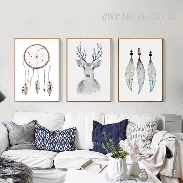 Retro Tribal Feathers Deer Vintage Poster Prints