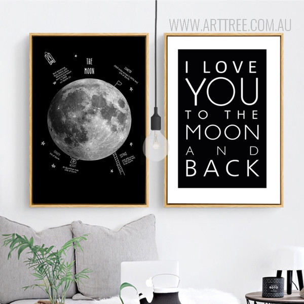Moon I Love You To The Moon and Back Quote Black and White Canvas Prints