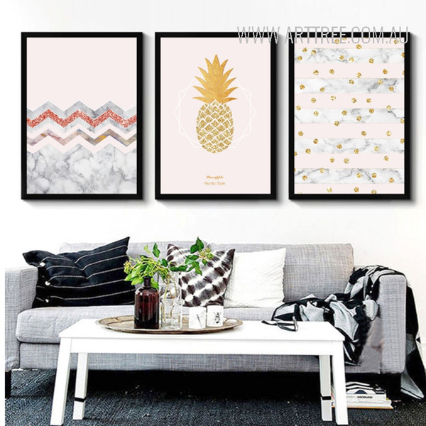 Abstract Nordic Style Yellow Golden Pineapple Dots Canvas Wall Art Decor
