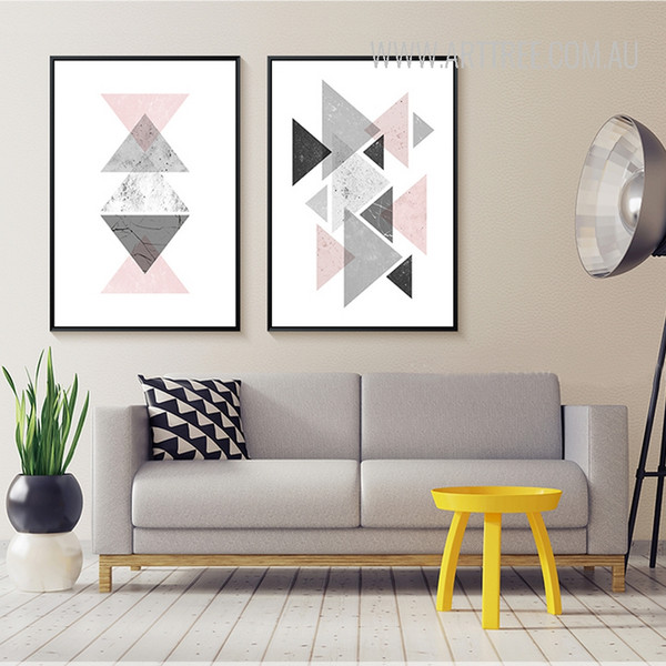 Creative Abstract Geometric Triangles Nordic Canvas Prints