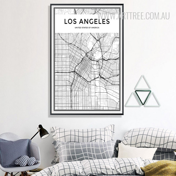 United States of America LOS ANGELES City Map Black and White Canvas Print