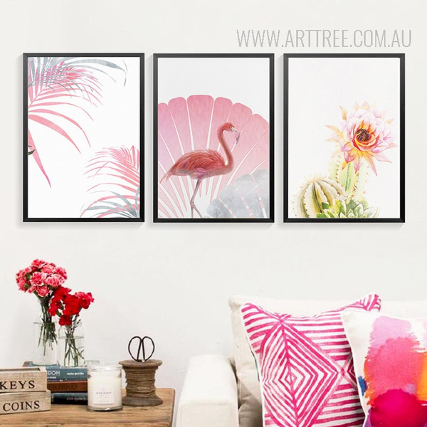 Pink Rose Flower Flamingo Bird Leaf Wall Art