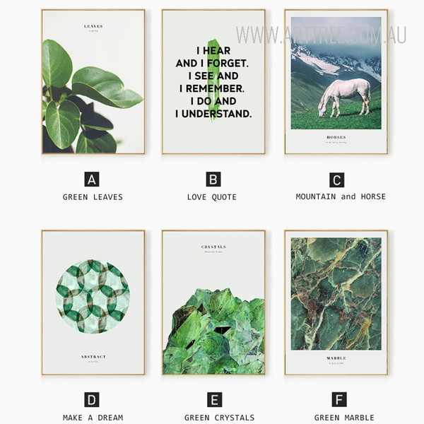 Green Leaves Crystal Marble Love Quote Horse Animal Prints Set