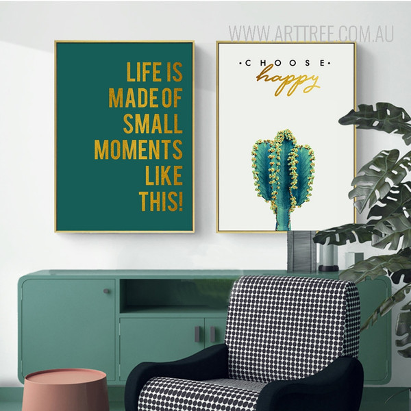 Choose Happy Life is Made Of Small Things Modern Cactus Quotes Prints