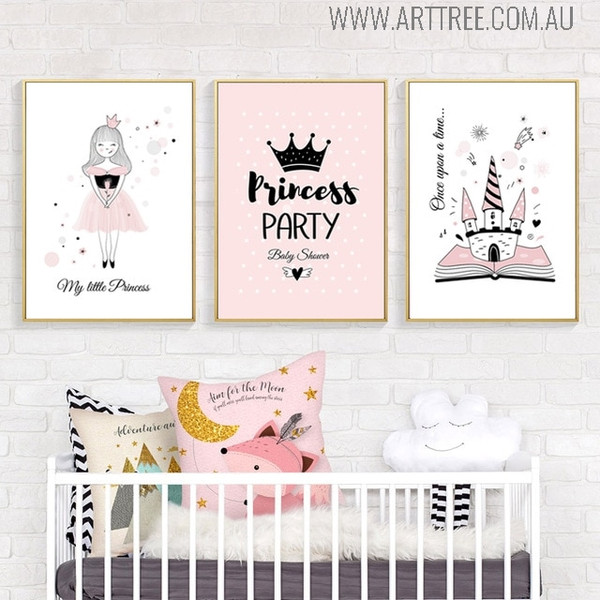 Princess Party Quotes Modern Cartoon Wall Decor