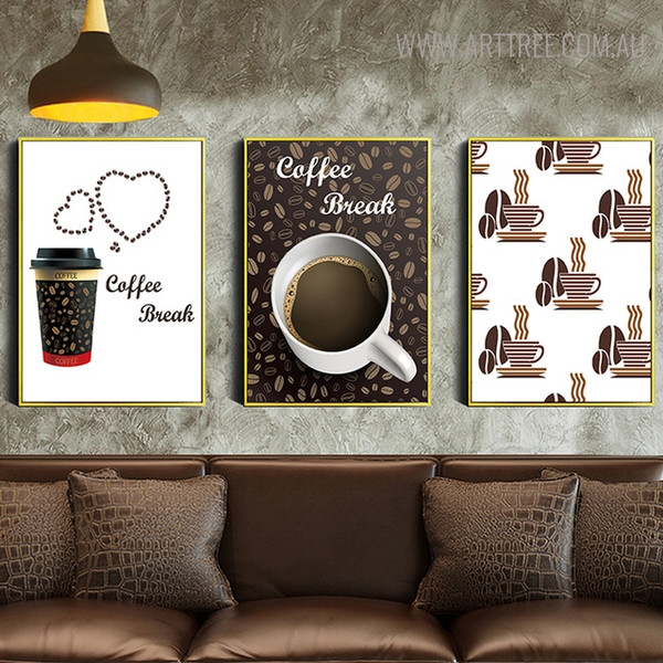 Coffee Break Inspirational Quotes Vintage Wall Art for Living Room