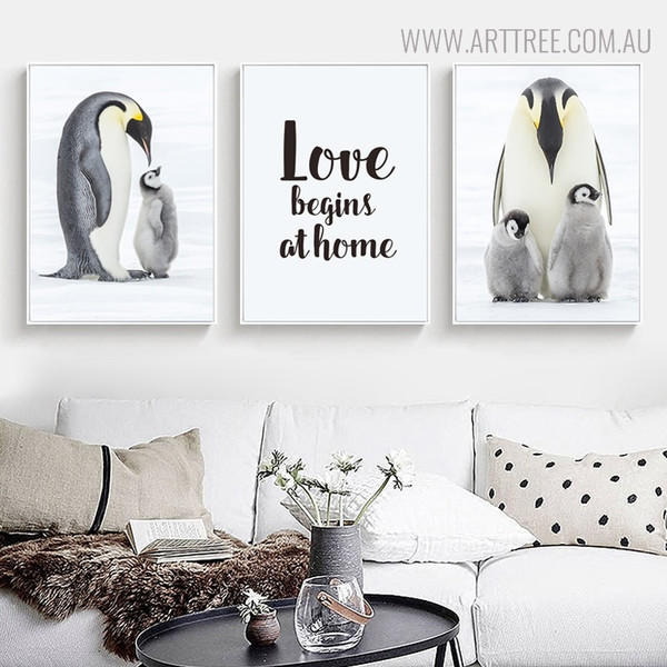 Penguin Families Bird Quotes Painting Print for Living Room Decor