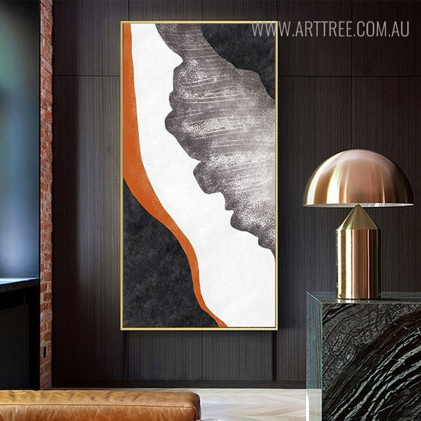 Abstract Orange Watercolor Wall Art Design for Living Room Decor
