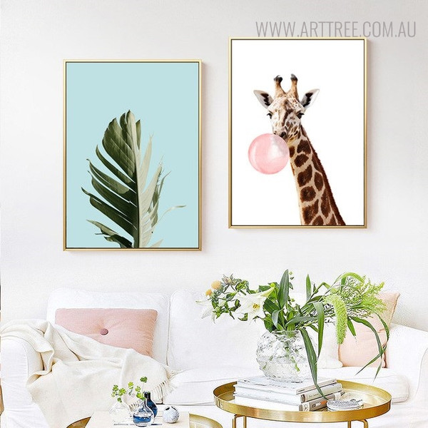 Palm Leaf Botanical Animal Painting Canvas Print