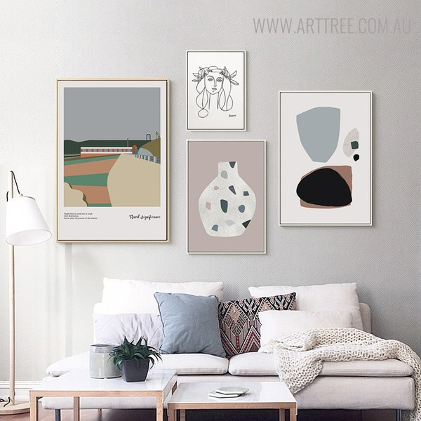 Journey Abstract Vintage Minimalist Quotes Painting Canvas Print