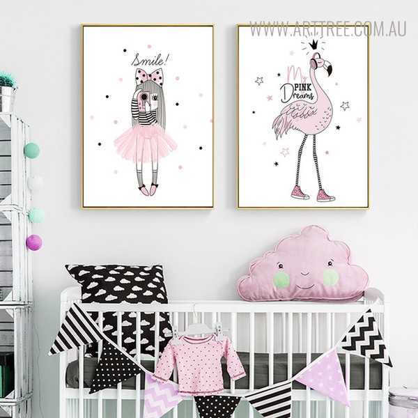 Animated Flamingo Quotes Wall Art Print for Nursery Room Decor