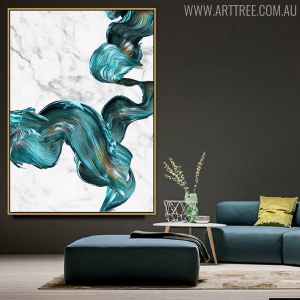 Abstract Turquoise Modern Watercolor Painting Canvas Print for Lounge Room Ornament