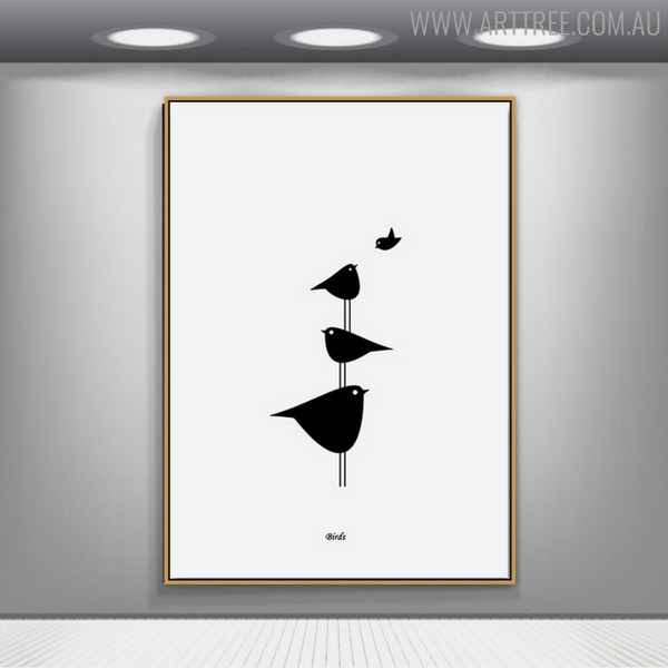 Birds Groups Minimalist Painting Print for Wall Art Decor