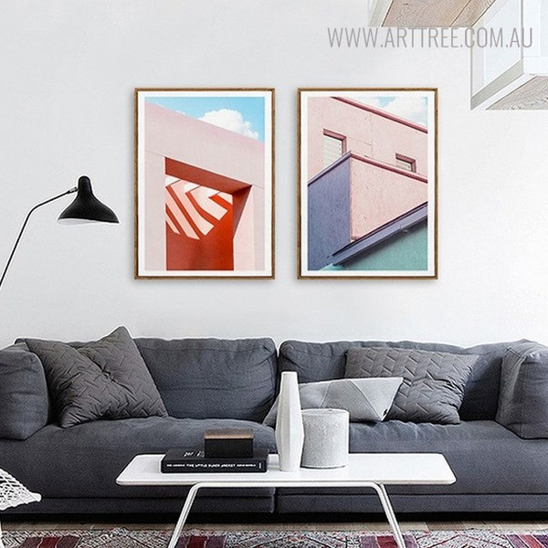 Pink Rooftop Cityscape Modern Painting Canvas Print for Lounge Room Decor