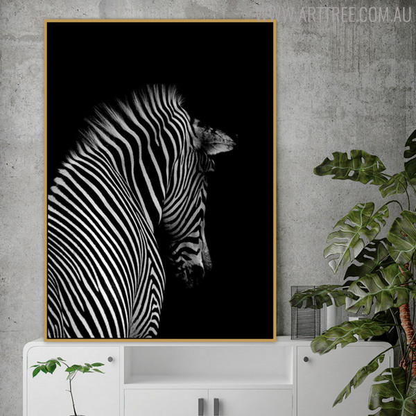 Zebra Backside Animal Picture Canvas Print for Living Room Wall Decor