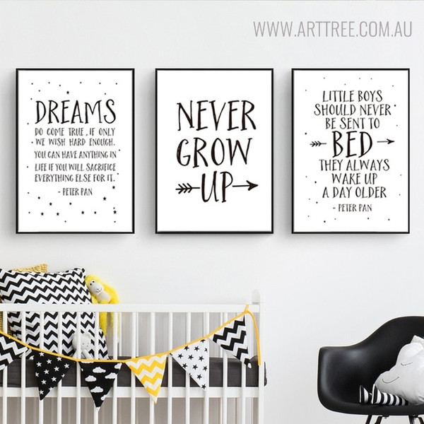 Never Grow Quotes Inspirational Scandinavian Nordic Painting Canvas Print for Nursery Room Decor