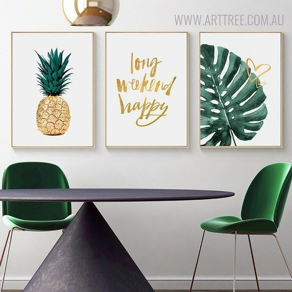 Turtle Leaf Botanical Quotes Painting Print for Dining Room Decor