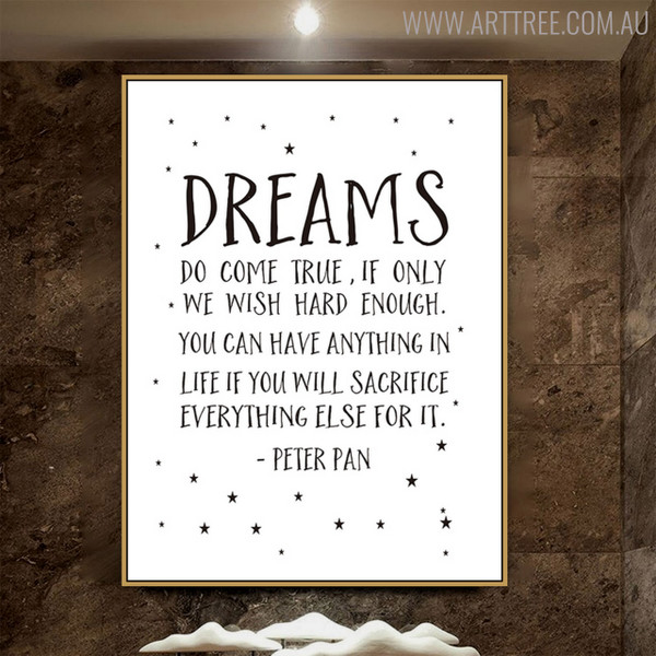 Dreams Quotes Inspirational Scandinavian Nordic Painting Canvas Print for Living Room Decor