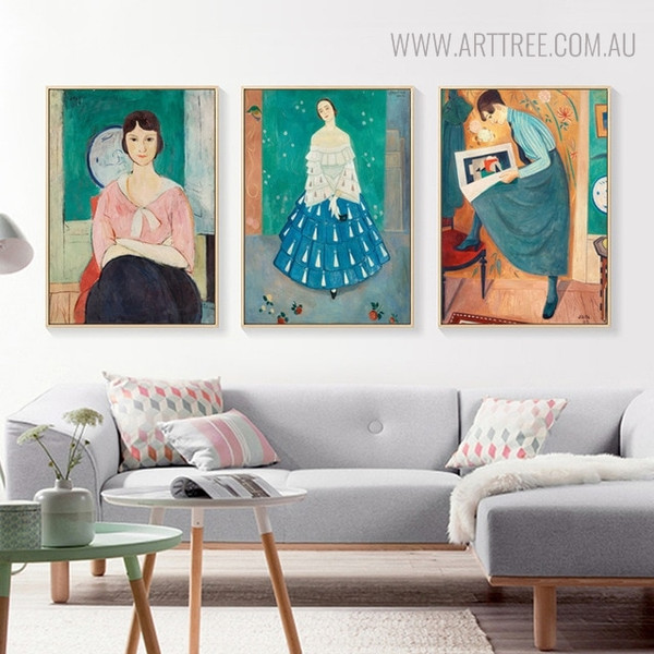 European Womens Vintage Figure Painting Canvas Print for Living Room Wall Art