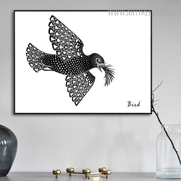 Monochrome Pigeon Abstract Vintage Bird Painting Print for Living Room Decor