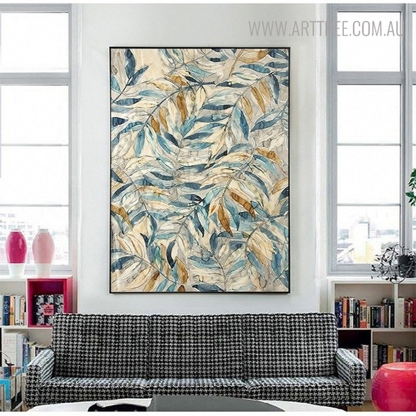 Leaves Botanical Vintage Painting Canvas Print for Lounge Room Decor