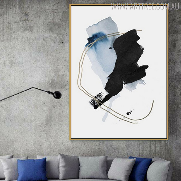 Golden Lines Abstract Watercolor Painting Print for Living Room Wall Art
