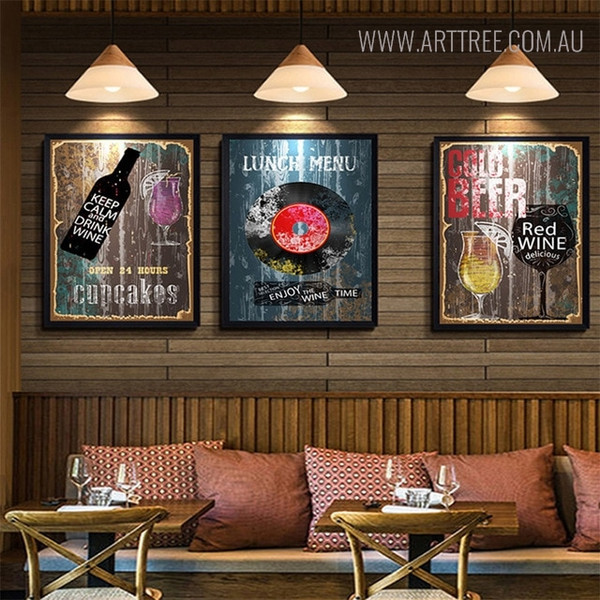 Wine Vintage Abstract Quotes Wall Art for Dining Room Decor